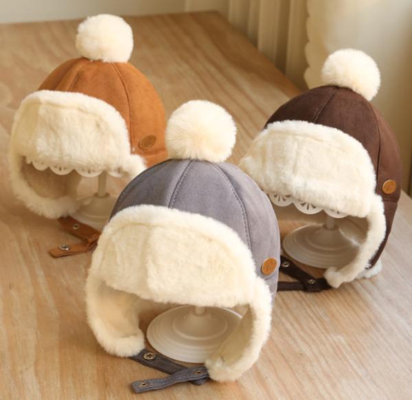 Mũ hai lớp lót lông trẻ em, mũ trùm tai, đại hàn