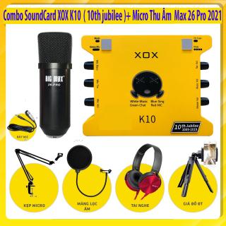 [ Combo Thu Âm Siêu Hot 2021 ] Combo SoundCard XOX K10 ( 10th jubilee ) - Micro Thu Âm Max 26 Pro Live Stream Karaoke Online Tại Nhà Chuyên Nghiệp , Combo Thu Âm + Full Phụ Kiện Phục Vụ Cho Ca Hát.Tự Biến Mình Thành Ca Sĩ Chuyên Nghiệp BH 12T thumbnail