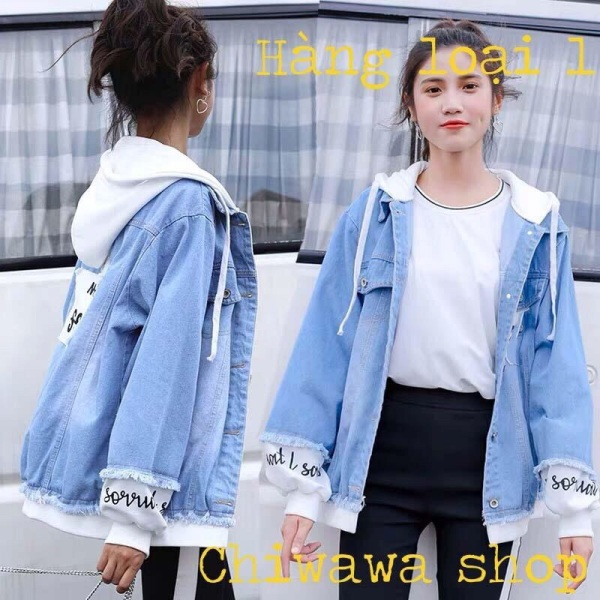 Áo khoác jean nữ có mũ nỉ - áo khoác jean nữ ngôi sao tinh tú form rộng Hàn Quốc hàng chuẩn shop bao đẹp như Video size M-L-XL