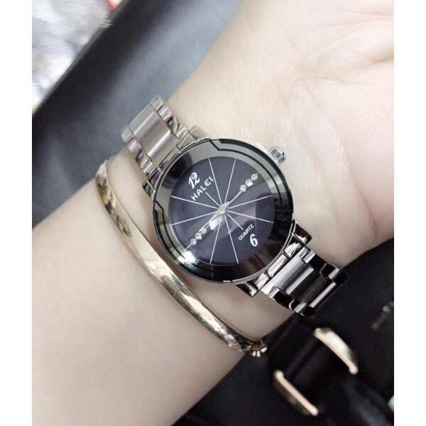 đồng hồ nữ halei dây bạc mặt đen ,HL5523,chống nước,chống xước tốt