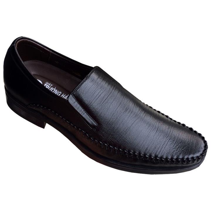 Giày nam công sở không dây cao 4cm Trường Hải đen đế cao su da bò thật GT0015