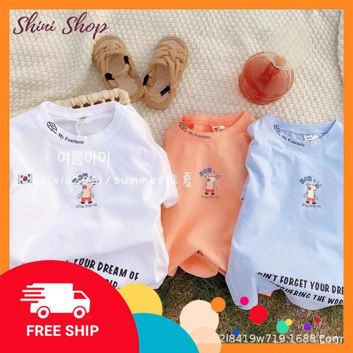 Áo thun chất liệu cotton thoáng mát cho bé trai và bé gái ShiniShop