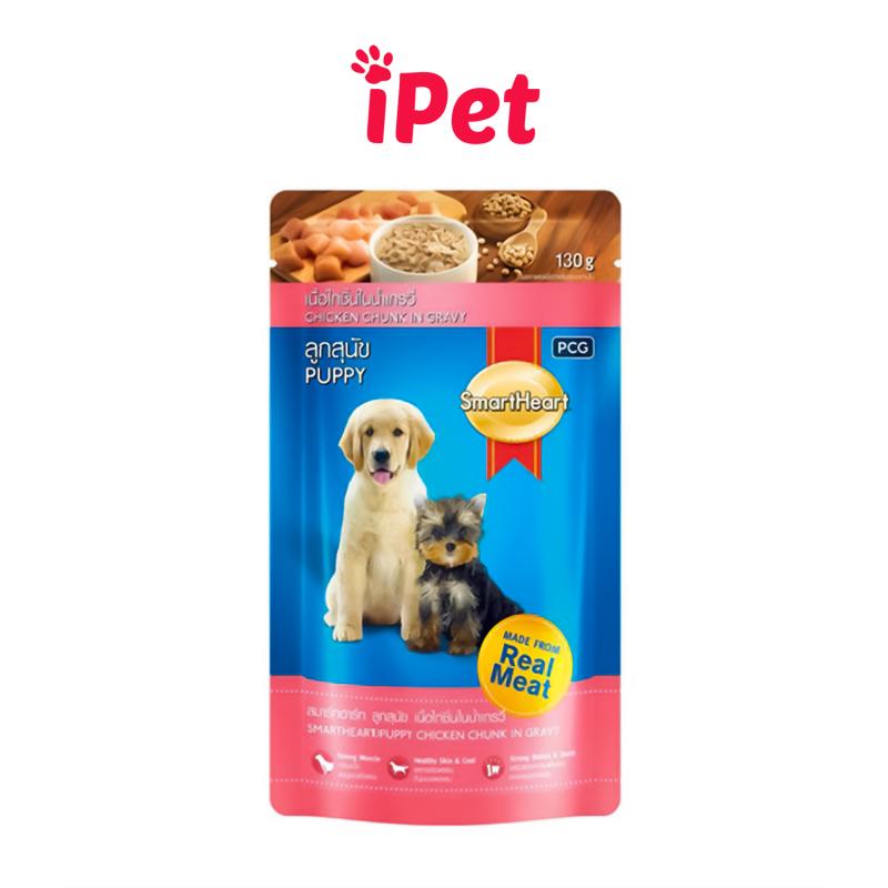 Thức Ăn Pate SmartHeart Cho Chó Con, Chó Lớn Vị Gà Nấu Xốt Gói 130g - iPet Shop