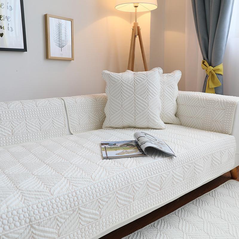 Jiuzhimao Cotton Fabric Sofa throw pillow Four Seasons throw pillow Anti-slip Minimalist Modern Pure Cotton Summer Days with Sofa Cover