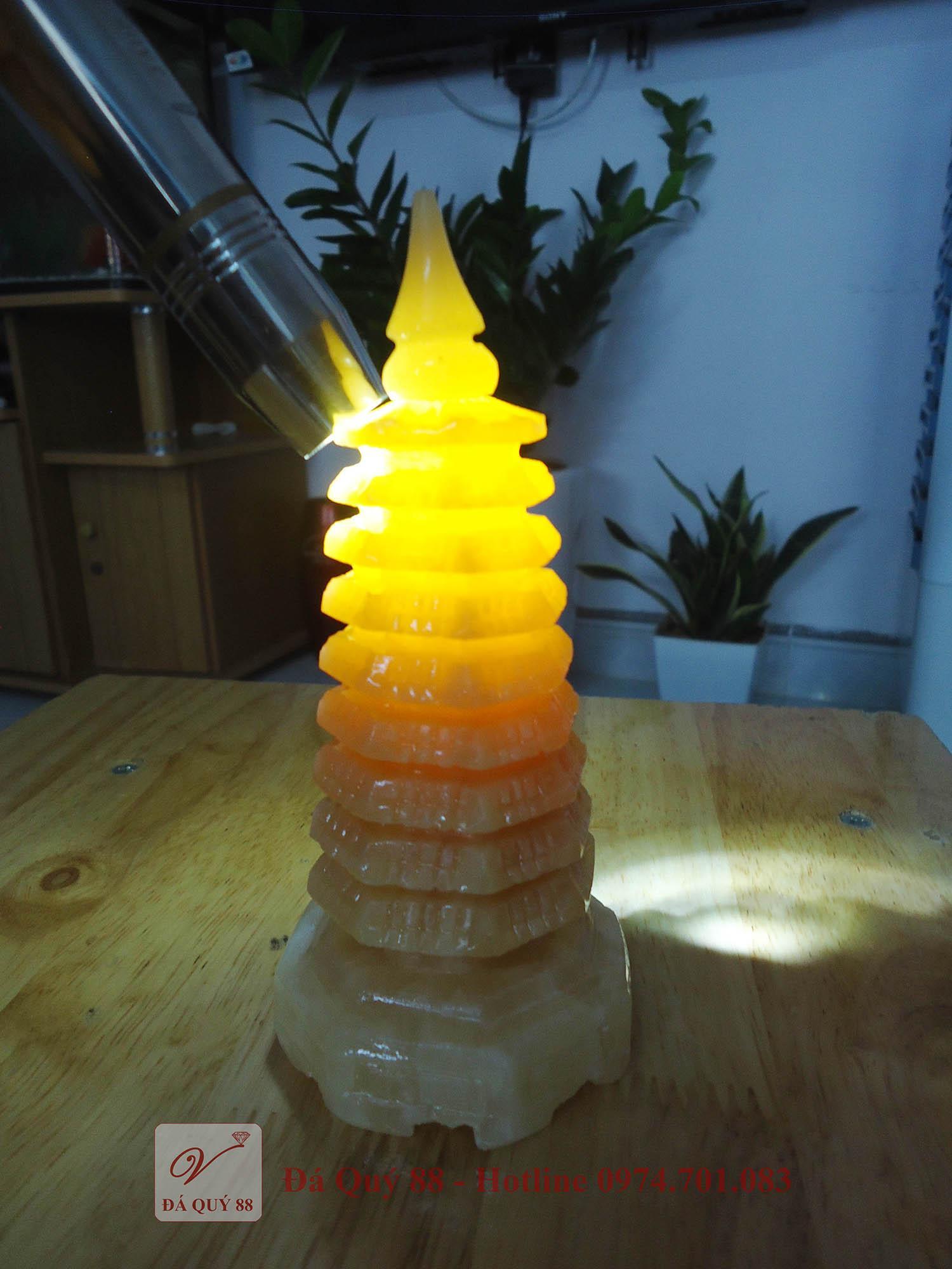 Mua Tháp Văn Xương đá ngọc hoàng long vàng tự nhiên cao 14.5cm
