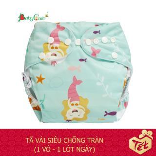 Bộ tã vải BabyCute ban Ngày Siêu chống tràn size S (3-9 kg) (1 Vỏ + 1 Lót) mẫu bé Gái thumbnail