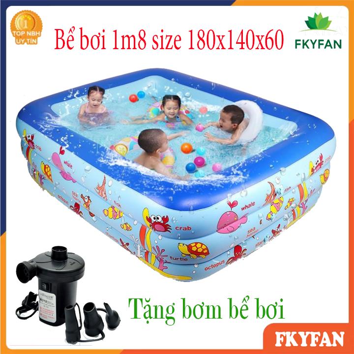 [LOẠI DÀY - TẶNG BƠM ĐIỆN] Bể bơi bơm hơi, bể bơi mini gia đình, tam be boi tre em, Bể bơi phao Cỡ lớn cho bé và gia đình - Bể bơi phao 3 Tầng cỡ lớn: 180X140X60 cm. loại dày tặng kèm Miếng Vá, hồ tắm cho trẻ em - M8