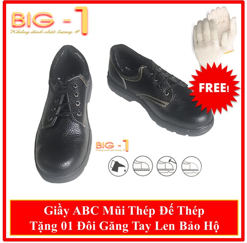 Giầy Mũi Thép Bảo Hộ Lao Động ABC Đế Chống Đinh - Tặng 01 Đôi Găng Tay Len Bảo Hộ