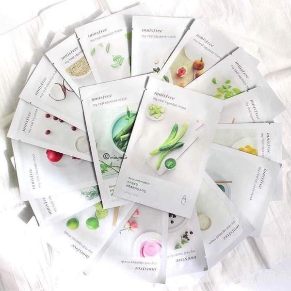 Combo 10 sản phẩm mặt nạ Innisfree dưỡng trắng giảm mụn se khít lõ chân lông cho làn da mịn màng nhập khẩu