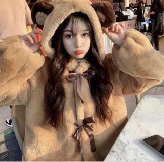 Hữu Quyền Store [Ảnh thật] Áo Lông Gấu Nữ Buộc Nơ Đáng Yêu Hottrend 2021 Q2 thumbnail
