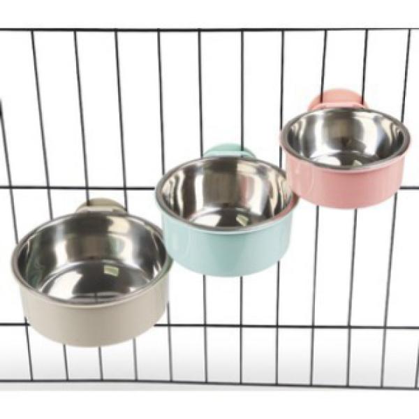Bát lòng inox cao cấp gắn lồng chuồng cho chó mèo thú cưng - Bát ăn cho chó mèo