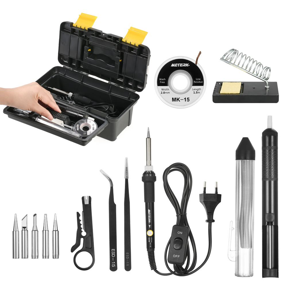 【Crazy Deal】Meterk 14 in 1 Soldering Iron Kit 60W Adjustable Temperature Welding Soldering Iron with ON/OFF Switch 5pcs Soldering Tips Solder Sucker Desoldering Wick Solder Wire Anti-static Tweezers Iron Stand with Cleaning Sponge Tool Box
