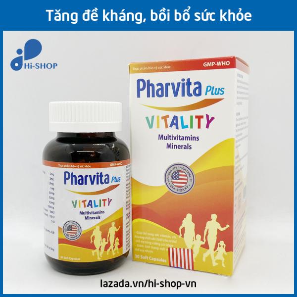 Vitamin tổng hợp Pharvita Plus bồi bổ cơ thể, tăng cường sức đề kháng, giảm mệt mỏi suy nhược - Chai 30 viên dùng cho người từ 6 tuổi