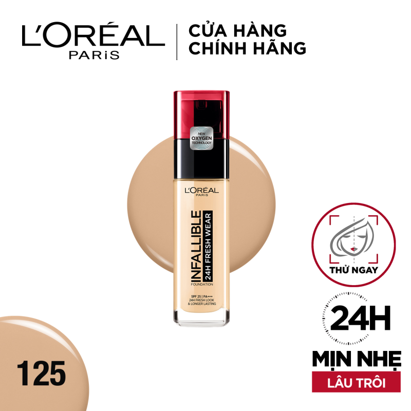 Kem nền 24h mịn nhẹ lâu trôi LOreal Paris Infallible 24h Fresh Wear Liquid Foundation30ml