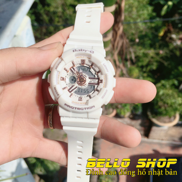 Đồng hồ nữ Baby-G BA110 TRẮNG ÁNH KIM thể thao nam nữ, Chống nước 200M,Tặng kèm pin dự phòng, Bảo hành 12 tháng - BELLO STORE bán chạy