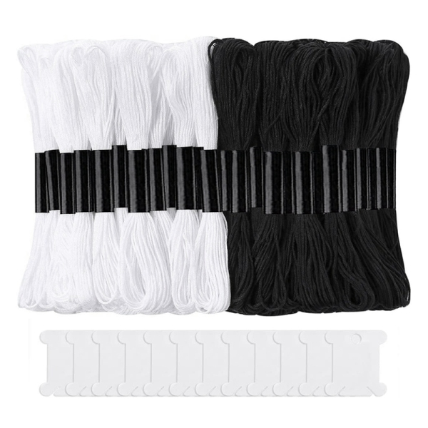 Bảng giá 24 Skeins Cross Stitch Threads, Cotton Embroidery Floss Friendship Bracelets Floss with 12 Floss Bobbins for Knitting Điện máy Pico