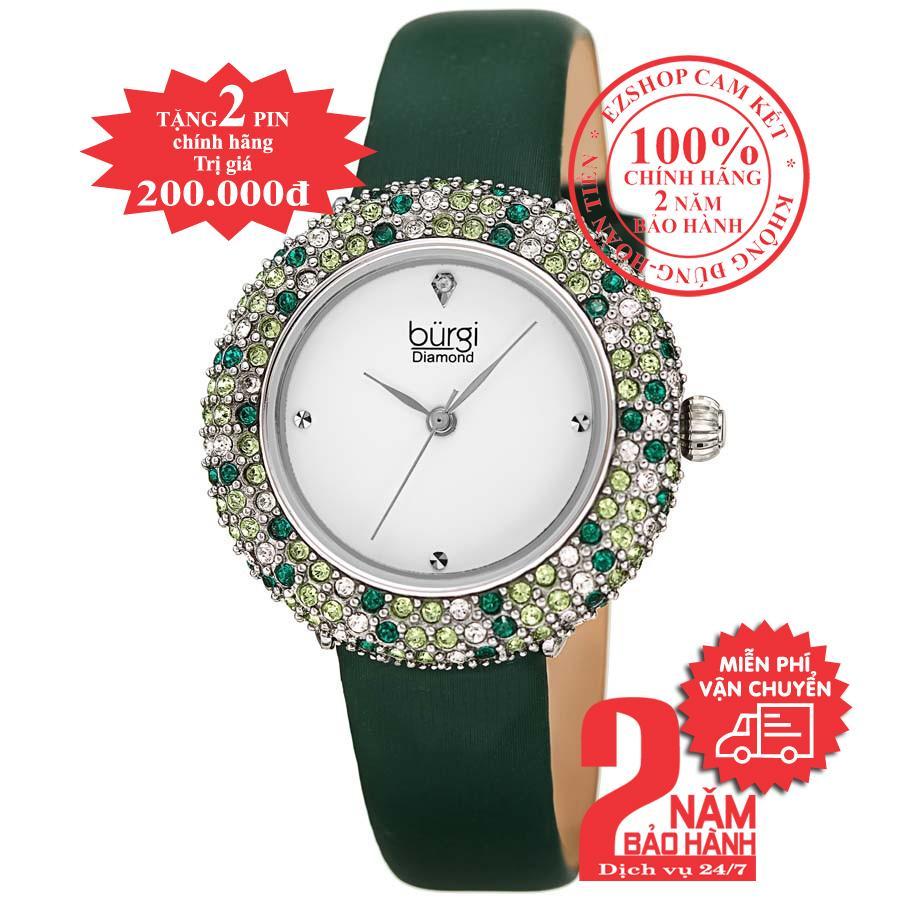 Đồng hồ nữ BURGI BUR227GN, Vỏ bạc (Silver), mặt Trắng (White), viền pha lê Swarovski, dây da xanh (Green) , size 33mm- BUR227GN bán chạy