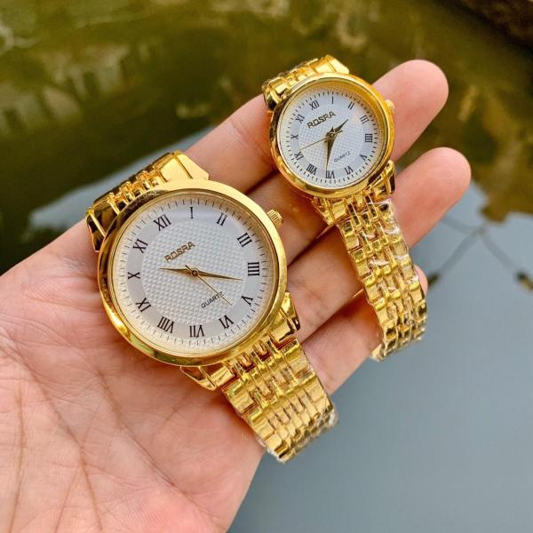 Đồng hồ thời trang nam nữ Rosra Ms 044 mặt la mã màu vàng sang trọng