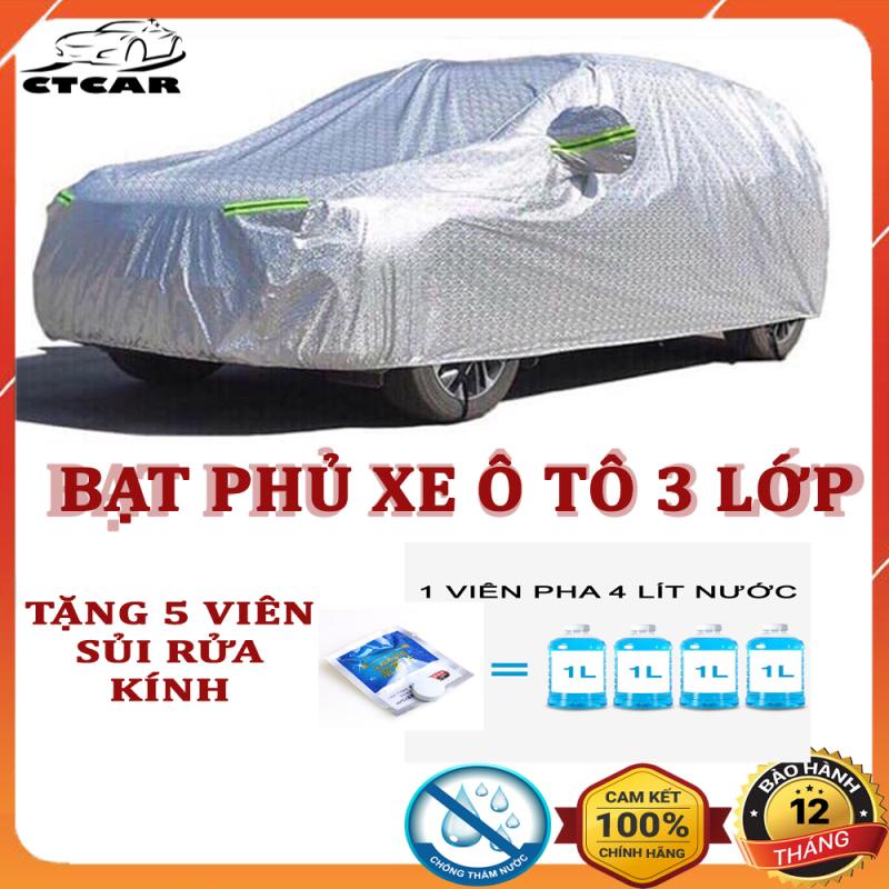 Bạt phủ xe ô tô, xe hơi, 3 lớp tráng nhôm cách nhiệt, chống nắng, chống xước, chống cháy che mưa hiệu quả