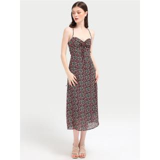 RECHIC Đầm Gilery Họa Tiết Hoa Đen Hai Dây Nhún Ngực Dáng Dài Dễ Thương Gợi Cảm thumbnail
