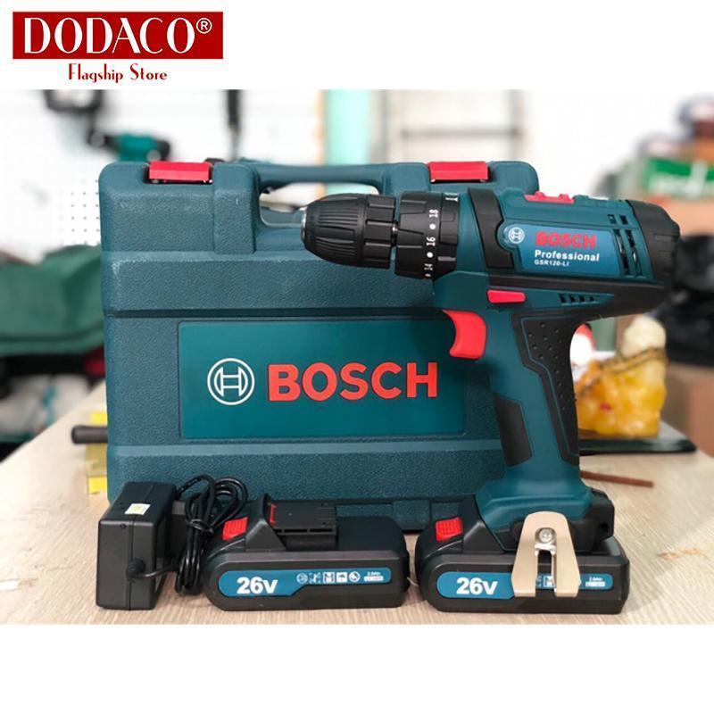 Máy khoan pin cầm tay BOSH 26V máy vặn vít có 2 pin có búa DODACO DCT0008