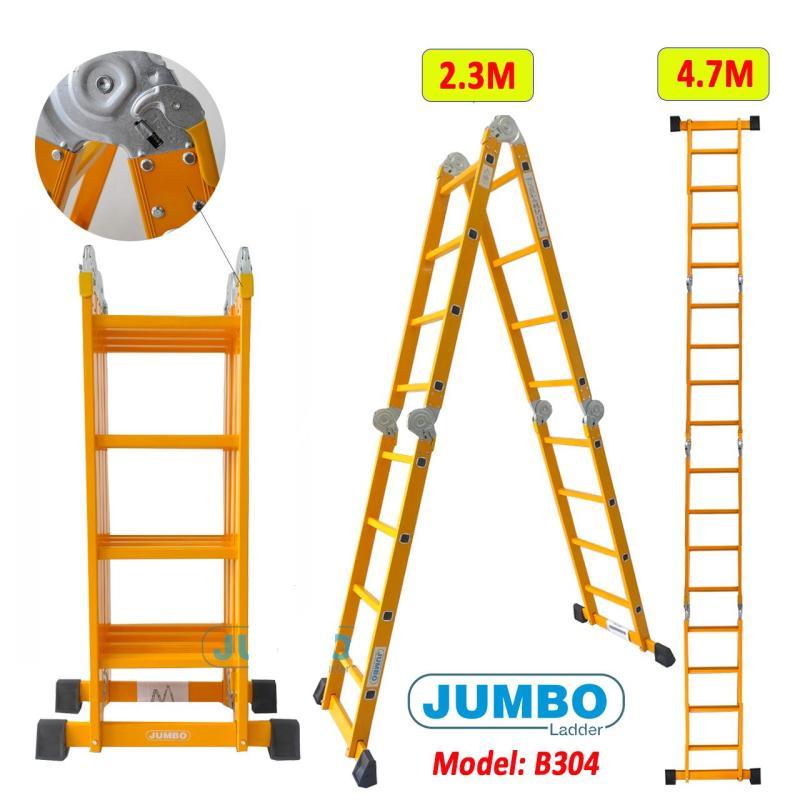 Thang nhôm gấp 4 đoạn Jumbo B304- 4,7m