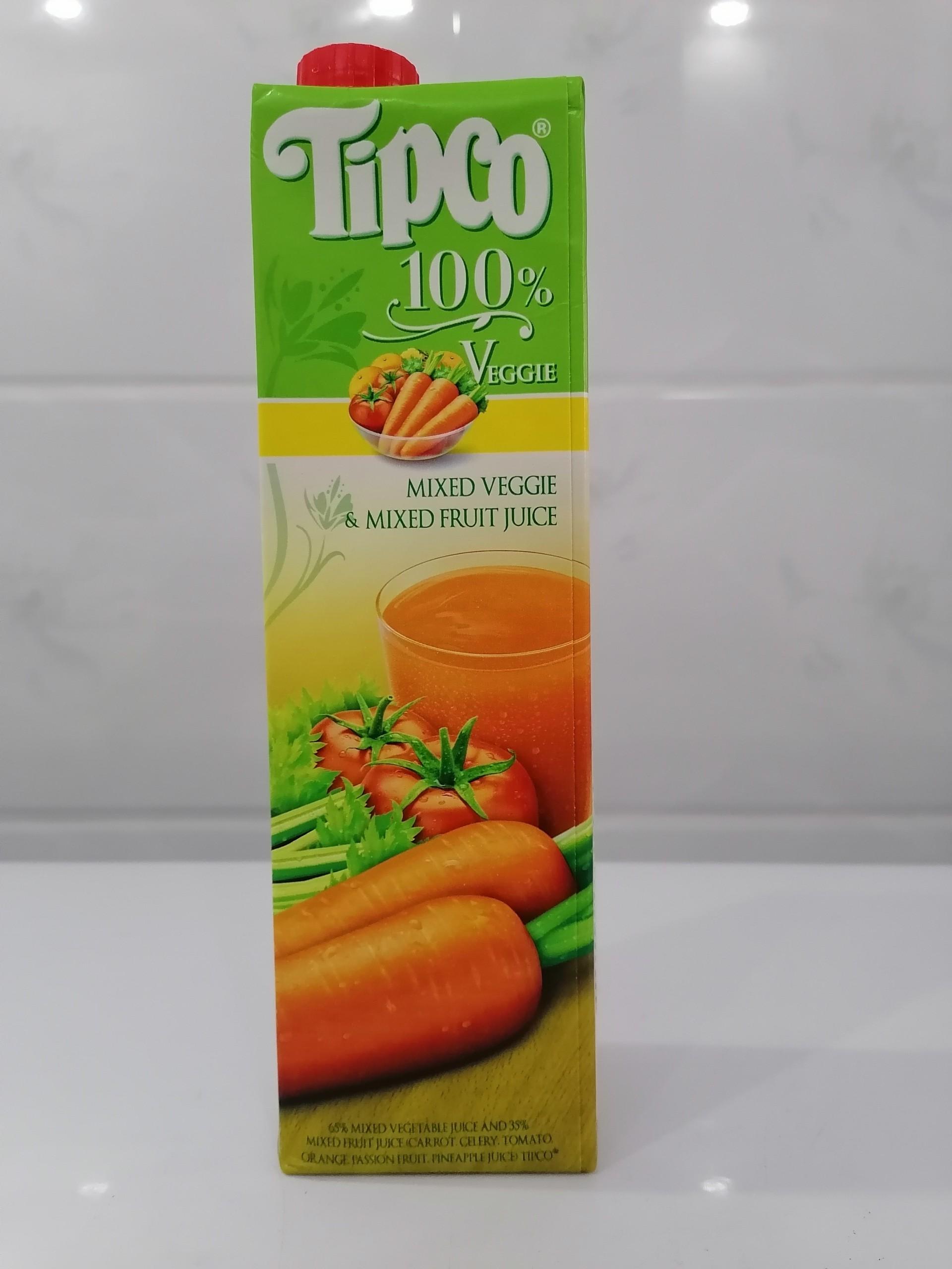 Nước Ép TIPCO Hỗn Hợp Rau Và Trái Cây 100% Mix Veggie & Mix Fruit Juice 1 Lít (halal)