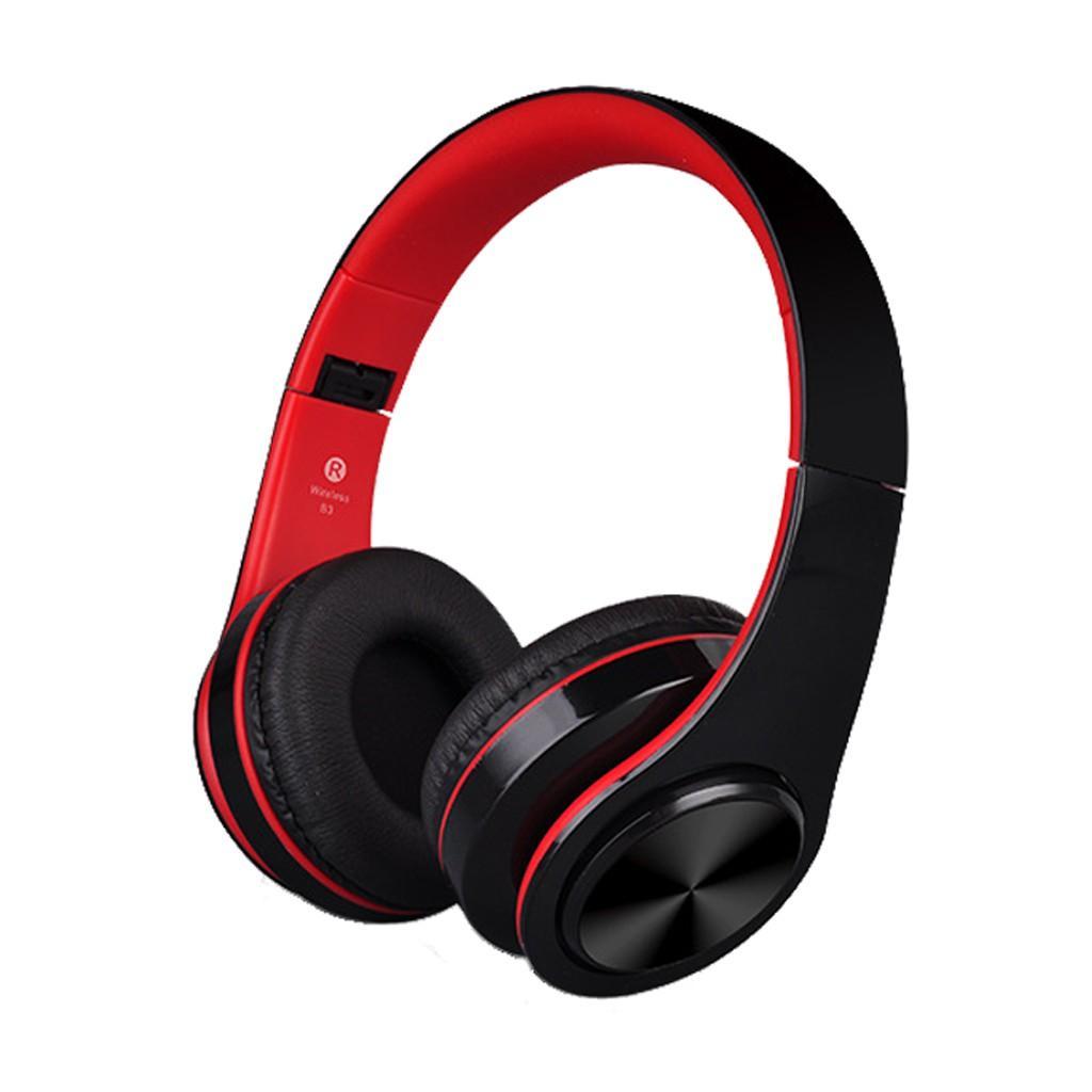 Tai nghe chụp tai cao cấp có khe thẻ nhớ Bluetooth P47 (Đen Đỏ) 1000002735