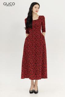 Đầm maxi nữ cổ vuông màu đỏ họa tiết hoa nhí GUCO 3067 thumbnail