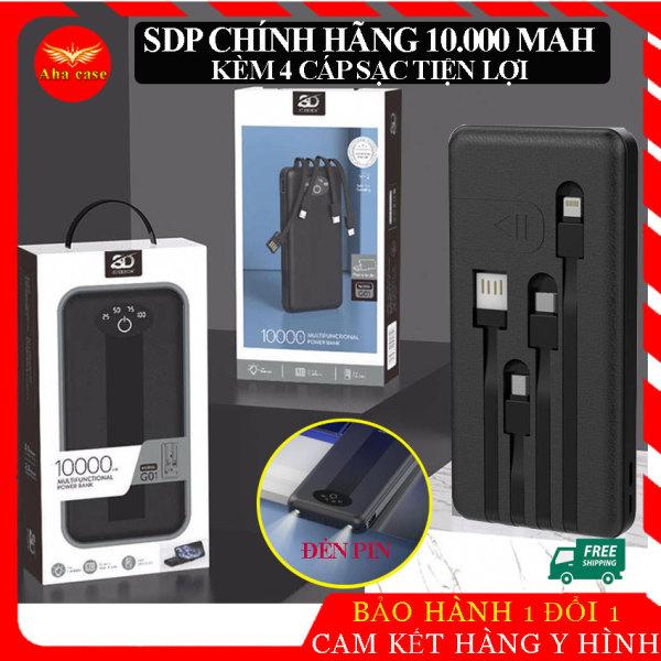 Pin sạc dự phòng Kèm 4 cáp G01 SD Design chính hãng dung lượng 10.000 mah,  dây sạc Iphone lightning, micro usb, type c tiện lợi nhỏ gọn, , sạt 2-4 lần cho điện thoại, có đèn Pin, bảo hành 1 năm, 1 đổi 1.