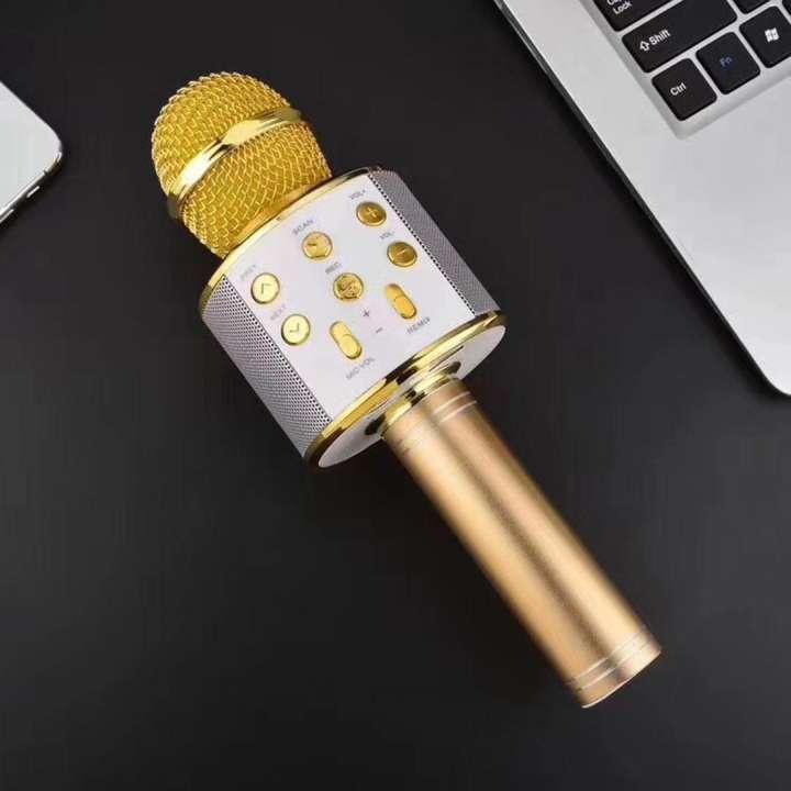 Mic Hát Karaoke Bluetooth Không Dây Kèm loa Âm vang Ấm mic hát karaoke cầm tay mini micro hát trên xe hơi mic hát karaoke hay nhất hiện nay-WS-8