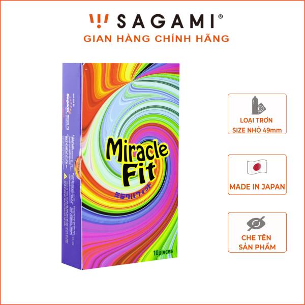 Bao cao su Sagami Miracle Fit 3D ( hộp 10 chiếc) - bao cao su nam size nhỏ 49mm siêu mỏng Sagami chính hãng nhập khẩu