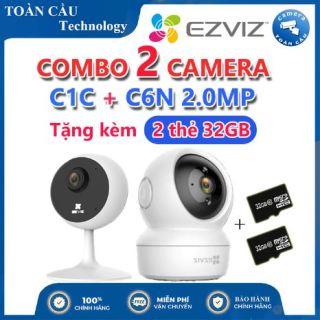 [100% CHÍNH HÃNG] Combo Camera WIFI EZVIZ C1C Độ Phân Giải 2MP + C6N Độ Phân Giải 2MP Tặng Kèm 2 Thẻ Nhớ 32GB - Camera Toàn Cầu thumbnail