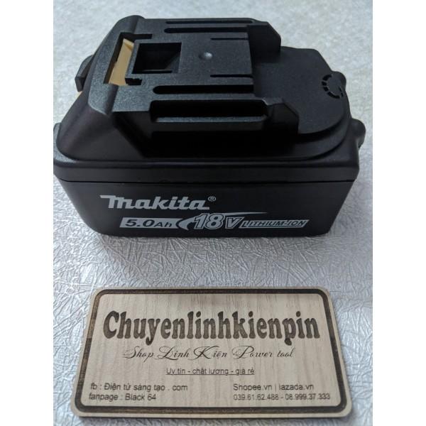 Vỏ pin Makita 18v adaptor, loại 2 hàng - 10 cell lẫy cài da cam khắc chữ mặt dưới ( BL64 108 )