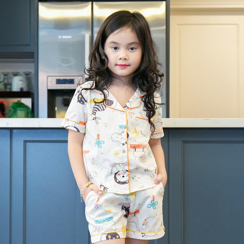Nơi bán Đồ bộ mặc nhà pijama bé gái màu trắng họa tiết hình thú
