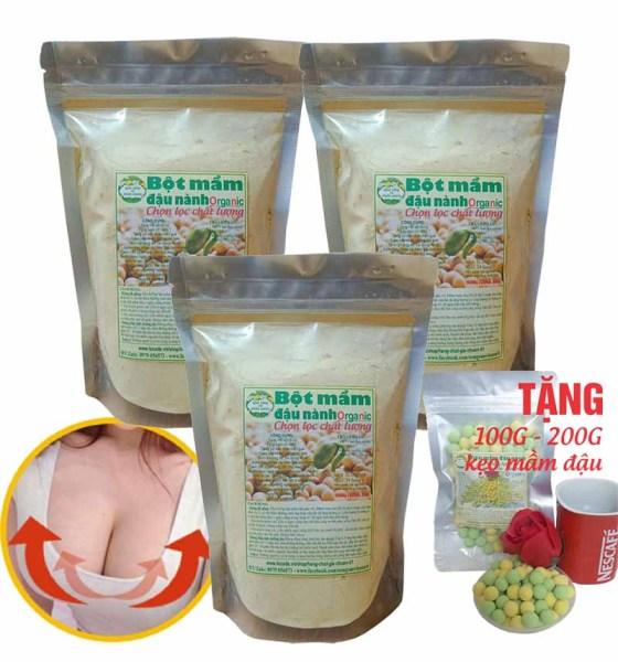Bột mầm đậu nành (Tăng cơ săn chắc, Tăng vòng 1) - 1KG (Tặng 100G viên mầm đậu nành thơm ngon giòn tan) giá rẻ