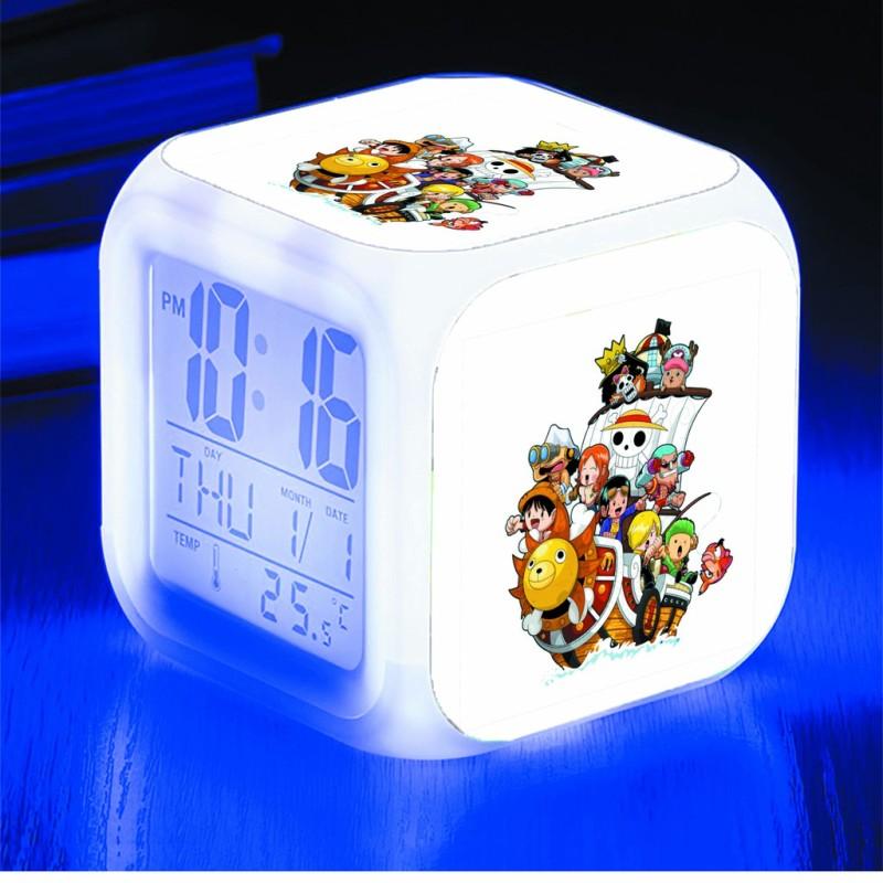 Đồng hồ báo thức để bàn in hình One Piece Đảo Hải Tặc anime chibi LED đổi màu bán chạy