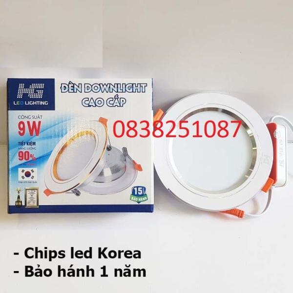 Combo 10 đèn led âm trần 9w viền bạc 3 màu ánh sắng trắng - vàng nắng - vàng ấm