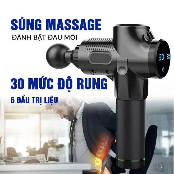 Súng Massage Cầm Tay Cao Cấp Cát Á 6 đầu trị liệu, 30 chế độ rung EM009 - Bảo hành 1 năm Chính Hãng