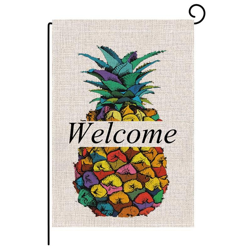 2Pcs Burlap Garden Flag Summer Welcome Double Sided Yard Flags Decorative For Outdoor Party-Pineapple