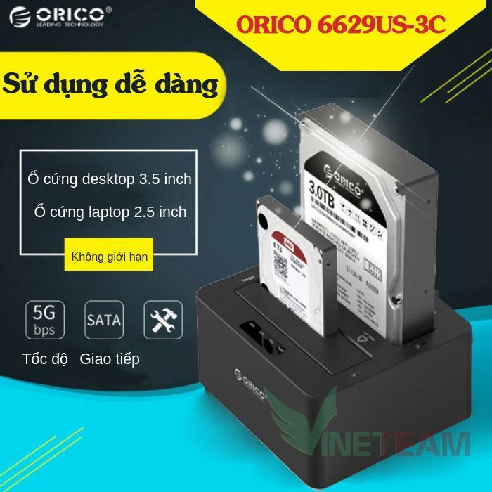 Thiết bị cắm nóng ổ cứng 2 cổng DOCKING ORICO 6629US3-C (Đen)