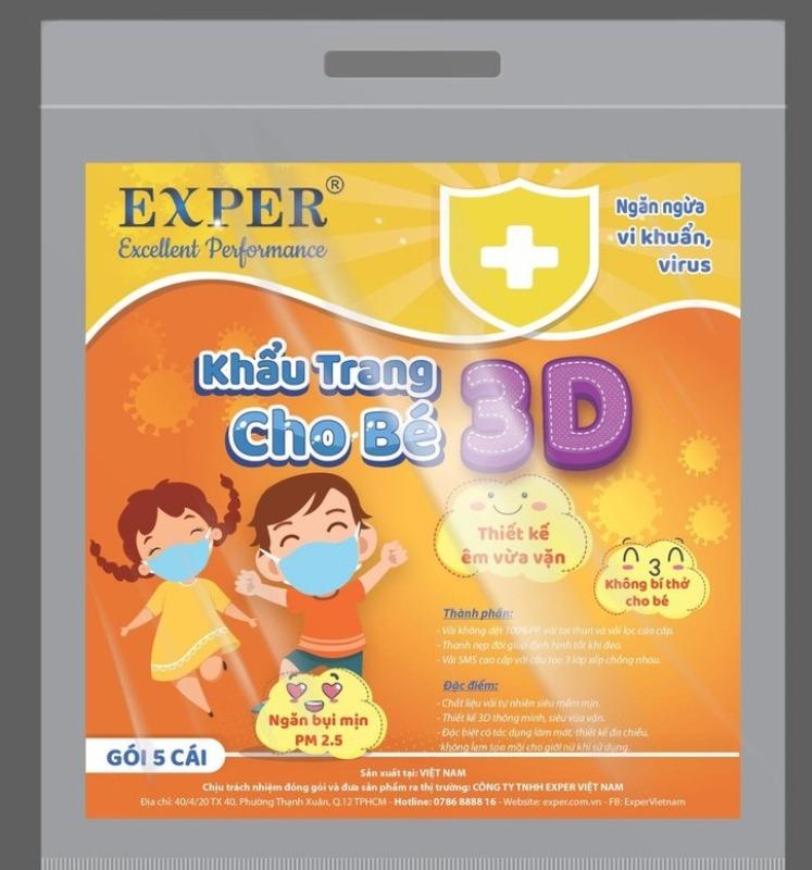 Khẩu trang cho bé 3D 3 lớp Kháng khuẩn, ngăn bụi mịn EXPER - Gói 5 cái