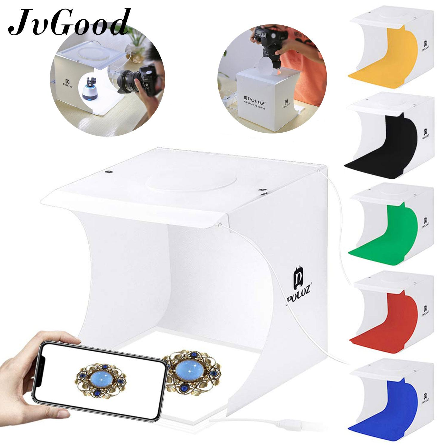 Jvgood Mini Photo Studio Box Portable Folding Photo Light Lighting Box Double Led Panel Cube With 6 Built-In Light Photography Backdrop Come With Bag By Jvgood.