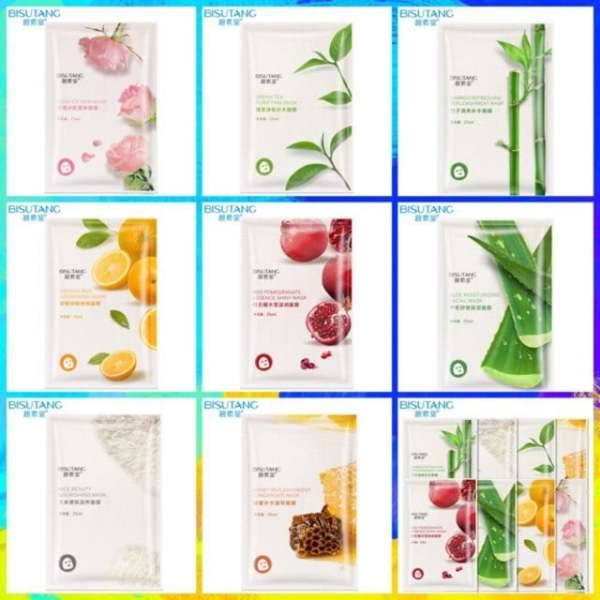 Combo 10 miếng mặt nạ giấy dưỡng da  Bisutang 8 vị trái cây dưỡng trắng từ thiên nhiên dưỡng ẩm và sáng da cho da mịn màng