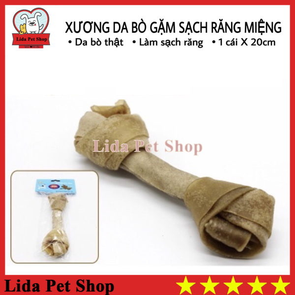 [Lấy mã giảm thêm 30%]HN- Xương da bò cao cấp dành cho chó gặm sạch răng khử mùi hôi miệng - Túi 1 chiếc 20cm - Lida Pet Shop