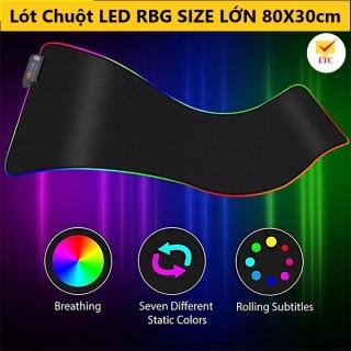 Lót Chuột PAD LED Gaming Loại LỚN size 80x30cm có nhiều chế độ led khác nhau, Bàn di chuột có đèn đổi màu nhiều chế độ kê cho cả bàn phím và chuột, thiết kế siêu mịn, đẹp, viền chắc chắn thumbnail