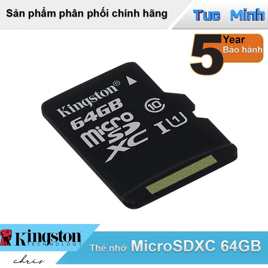 Thẻ nhớ MicroSDXC 64GB Kingston Class 10 USH-I 80MB/s - hàng FPT Synnex phân phối