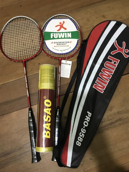 Combo 2 cây vợt cầu lông Fuwin 9588 thiết kế đẹp mắt chắc tay - tặng ngay 1 hộp cầu lông 3 sao 10 quả