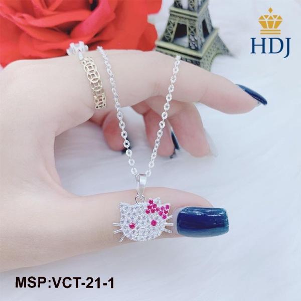Dây chuyền bạc cho bé hình Hello Kitty đính đá sang trọng trang sức cao cấp HDJ mã VCT-21-1