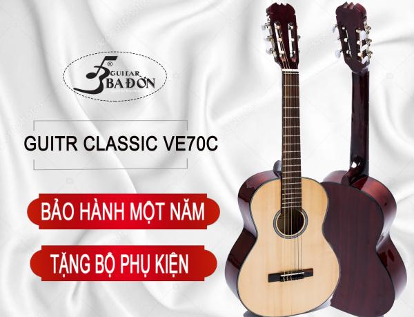 Đàn Guitar Classic Ba Đờn VE-70-C ( màu gỗ SƠN PU  BÓNG VÀ  MỜ ) Tặng Bộ phụ kiện